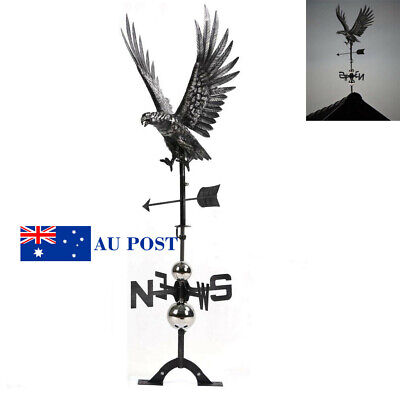 3D Hunting Eagle Weather Vane Stainless Steel  Roof Outdoor Ornament Matte Black