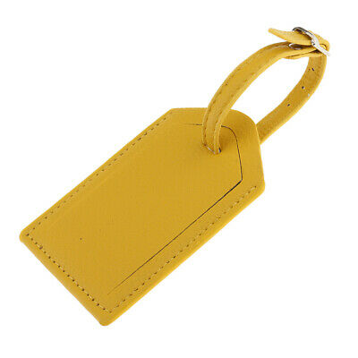 PU Leather Luggage Bag Tags Travel Accessories Suitcase Tag Name Card Yellow