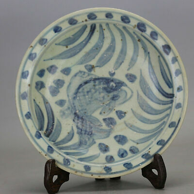 Chinese old hand-carved porcelain Blue & white fish grass pattern plate