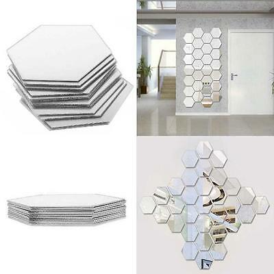 Wall Stickers 12Pcs 3D Mirror Hexagon Vinyl Removable Decal Home Decor Art MH