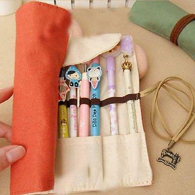 Canvas Pen Makeup Brush Bag Holder Wrap Roll Up Stationery Pencil Case Pouch MH
