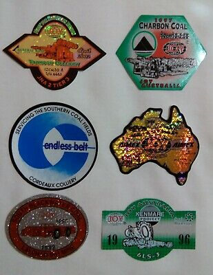 Vintage JOY AIMEX South Blackwater Cordeaux Tahmoor Charbon Coal Mining Stickers