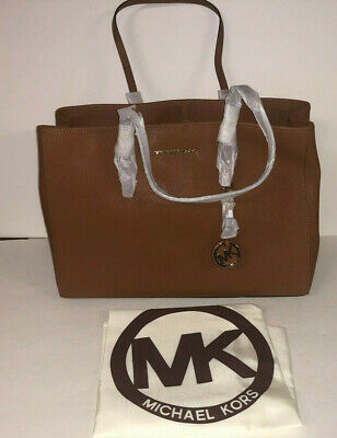 a6bcbc1c4c2a New Michael Kors Luggage Brown Large Saffiano Leather Jet Set Travel Ew Tote  Bag