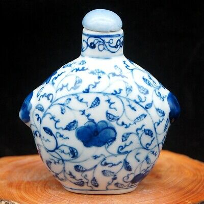 Chinese rare collectible Blue And White Porcelain Flower leaf Snuff Bottle big