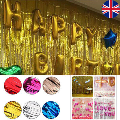 3M Shimmer Foil Window Decor Glitter Tinsel Metallic Curtain Backdrop Party New