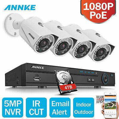ANNKE 1080P IR Outdoor Security IP Camera System 4CH 2MP NVR POE 0-4T +Free Gift