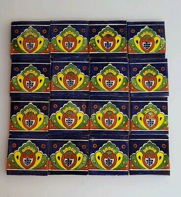 16 - HAND PAINTED MEXICAN IMPORTED TALAVERA GLAZED TILES 10.5cm x 10.5cm, MOSAIC