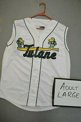d52bd1d39771c Adult LARGE Tulane Green Wave WHITE VEST NCAA Throwback College Baseball  Jersey