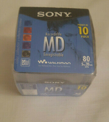 Sony New Minidisc MD 10 Pack Color Collection Recordable 80 Min Sealed