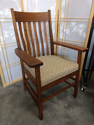 Antique ALLEN CHAIR CO Arts + Crafts Oak Arm Chair Stickley Mission Library