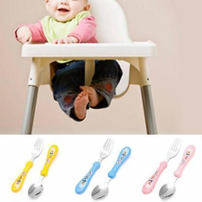 2in1 Kids Baby Cartoon Characters Stainless Spoon Fork Soup Dinnerware Safety MH