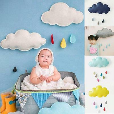 3D Cloud Raindrop Shape Baby Nursery Kids Room Home Party Wall Decal Sticker MH
