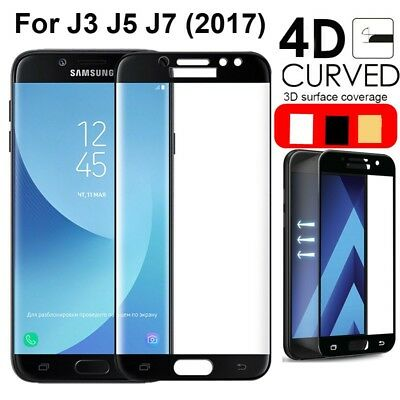 4D FULL COVER Tempered Glass Screen Protector for Samsung Galaxy J3/J5/J7 2017
