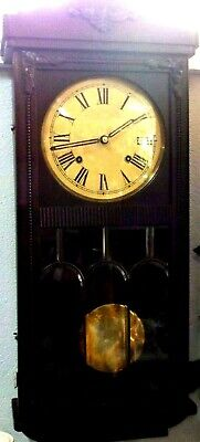 ART DECO OAK WALL CLOCK, 1920s, PENDULUM WIND UP, LEAD LIGHT DOOR