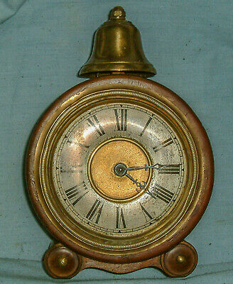 Antique - H.A.C. Wooden Drum Clock, with Alarm - Needs minor attention