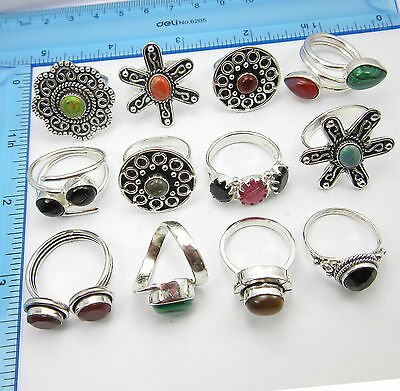 12 Pcs LOTS UNISEX STYLE Rings ! ONLINE FREE SHIPPING ! Silver Plated Jewelry