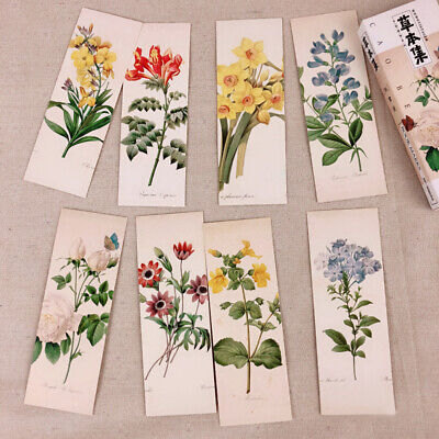 32x Chinese Style Plant Flower Bookmark Paper Clip School Supply Stationery Gift