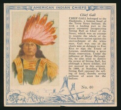 1954 T129 Red Man Tobacco AMERICAN INDIAN CHIEFS -#40 Chief Gall