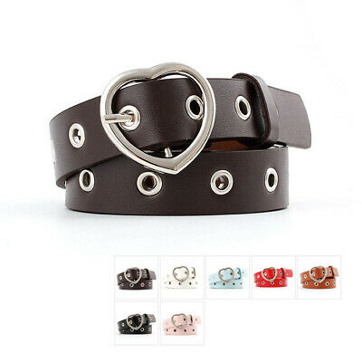 Ladies Women Heart Buckle Belt Dress Jeans Faux Leather Waistband UK Stock Red