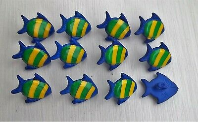 12 x blue fish shape shanked buttons animals sealife childrens Dill 251272.