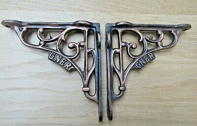 "PAIR OF 5"" GNER  cast iron vintage Industrial cistern shelf bracket"