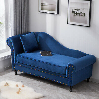 Chesterfield Velvet Chaise Longue Studded Loungue Sofa Day Bed With Cushion UK
