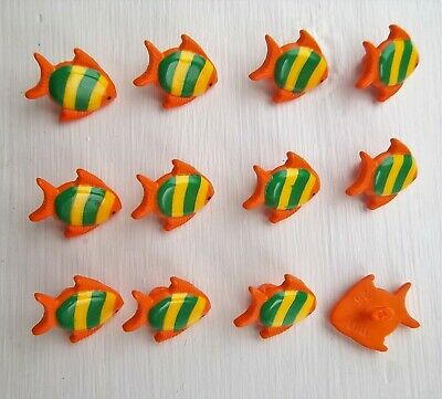 12 x orange fish shape shanked buttons animals sealife childrens Dill 251273.