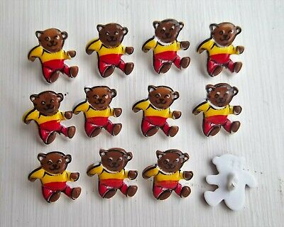 12 x red yellow teddy bear shape shanked buttons animals childrens Dill 221013.
