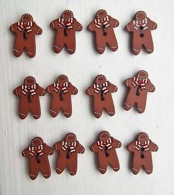 12 x gingerbread men red bow shaped buttons animals childrens Dill 280777.