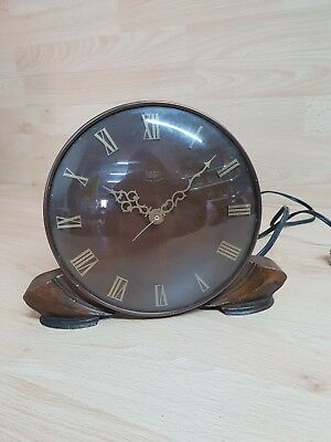 Vintage Early Smiths Electric Clock Wood - Woodward