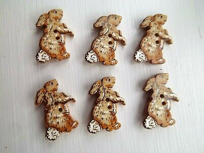 6 x rabbit shaped buttons animals childrens Dill 330546.