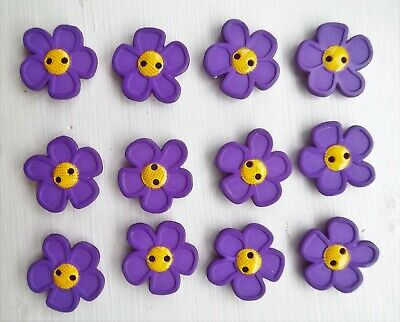 12 x purple flowers shaped buttons nature childrens Dill 280862.