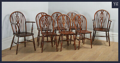 Antique Set of 8 Eight Windsor Wheel, Stick & Hoop Back Kitchen Dining Chairs