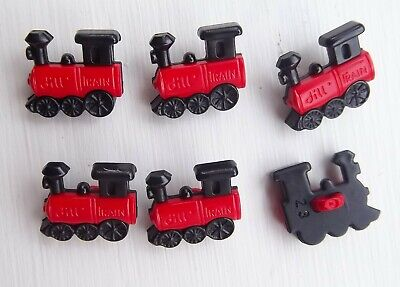 6 x red train shanked shaped buttons transport childrens Dill 231386.