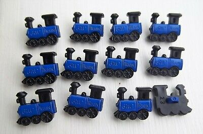 12 x blue train shanked shaped buttons transport childrens Dill 231347.