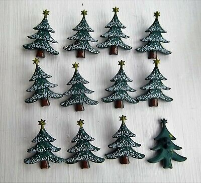 12 x  tree shape shanked buttons christmas childrens Dill 320098.
