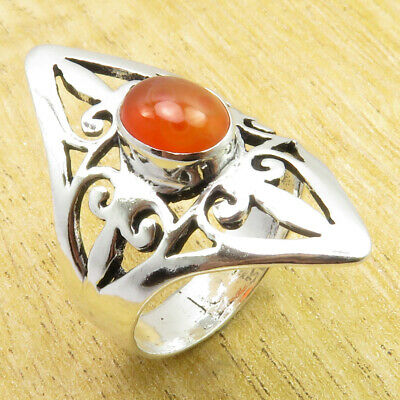 Jewelry Store 925 Silver Plated Wonderful Carnelian CELTIC MARQUISE Ring Size 10
