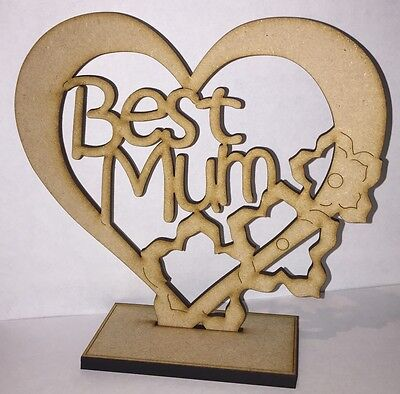 """WOODEN HEART /""""NAN/""""  Free Standing  Large,18mm thick MOTHERS DAY"""