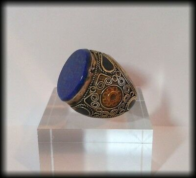 Antique Chunky Near Eastern Lapis Tughra Intaglio Blank Islamic Seal Ring