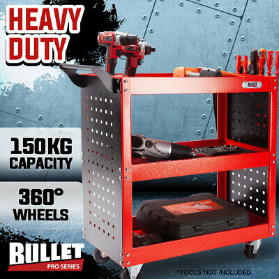 BULLET Tool Trolley Cart Storage 3-Tier Metal Rolling Steel Mechanic Utility