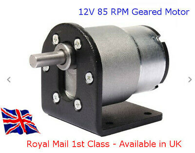 General Purpose 12v 85 RPM Gearmotor with Mounting Bracket - Available in UK