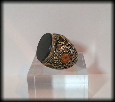 Antique Chunky Near Eastern Onyx Tughra Intaglio Blank Islamic Seal Ring