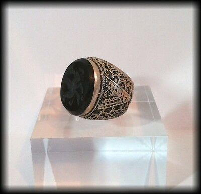 Antique Chunky Near Eastern Carved Onyx Tughra Bird Intaglio Seal Ring