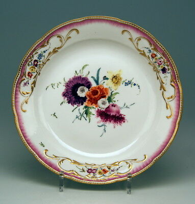 Früher Meissen マイセン Teller Blumen Malerei Flat Plate Flower Paintings Um 1763 C