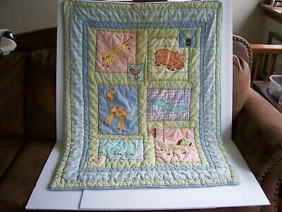 FINISHED EDGES BABY CRIB BLANKET QUILT ~ RED WAGON EXPRESS ANIMALS ~ HOMEMADE