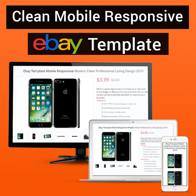 Ebay Listing Template Mobile Responsive Clean Professional Listing Store 2019