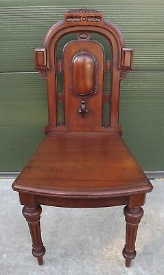 Antique Victorian Carved Walnut Hall Chair by T. Simpson & Son of Halifax