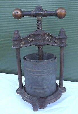 Antique Cast Iron & Tin Olive Press Squeezer Crusher Nice Decorative Piece