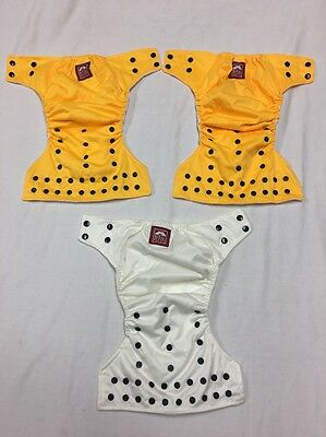 Lot Of 3 Royal Fluff Infant Reusable Baby Cloth Diaper Yellow / Ivory [