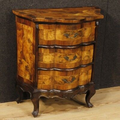 Dresser Italian furniture bedside table antique style wood walnut 3 drawers 900